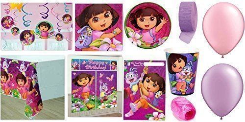 Dora's Party Supplies for 16 - Table Cover, Cups, Napkins, Plates, Treat Bags, Invitations, Stickers, Swirl Decorations, Scene Setter, Curling Ribbon, Streamer, & Balloons - This Bundle Has 127 Pieces by Dora the Explorer