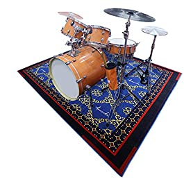 Aucuda Drum Rug Drum Mat Drum Carpet,Tightly Woven Fabric With Non-Slip Grip Bottom,6ftX6.6ft,Starry Sky Blue,Great Gift…
