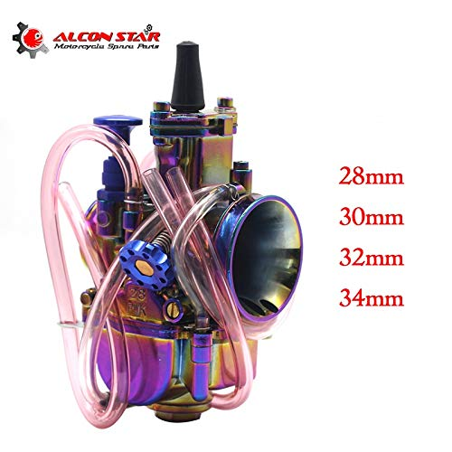 (| Carburetor | Alconstar| 28 30 32 34mm New Colorful Motorcycle Carburetor Carburador with Power Jet 2T/4T Scooter ATV UTV Off Road Racing | by HUDITOOLS | 1 PCs)