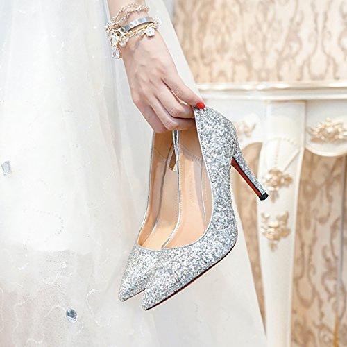 YLLHX Chaussures pour Femmes Printemps, Été Automne Mariée Demoiselle D'honneur à Talons Hauts Pointus Paillettes Cristal Fée Chaussures Simples Princesse Silver5.5cm
