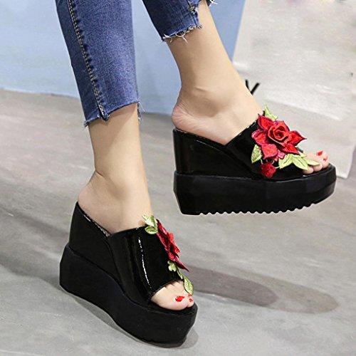 Voberry Sandalen, Mode Frauen Thick-Bottom Schrägen Hausschuhe Bestickt Hochhackige Keile Peep Toe Schuhe Schwarz
