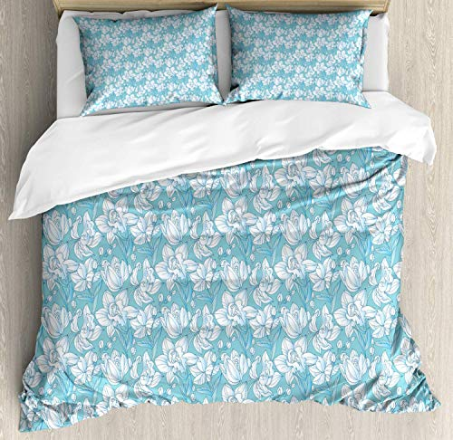 Floral Duvet Cover Set King Size,Delicate Spring Nature Pattern With Abstract Flowers And Buds,Bedding Cover Set 100% Cotton Boys Girls For Children Teens,Pale Teal Pale Sky Blue Baby Blue