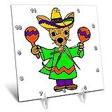 3dRose All Smiles Art - Music - Cute Funny Chihuahua Puppy Dog Shaking Maracas Cartoon - 6x6 Desk Clock (dc_293158_1)