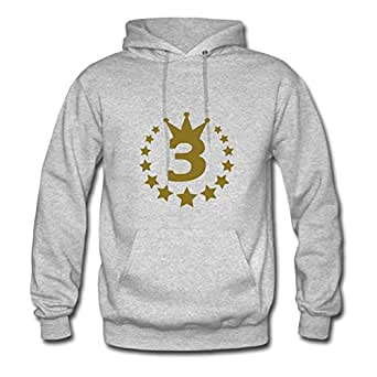 Customized Long-sleeve 3_real_stars_crown Chic Sweatshirts In Grey Women Cotton X-large
