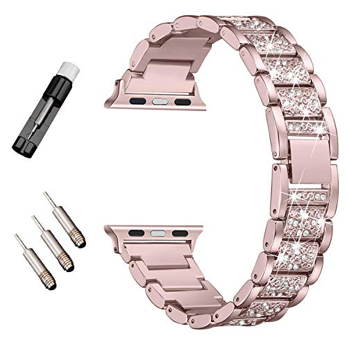 HenMerry Bling Band Compatible for A p ple Watch Band 38mm 40mm Series 4 3 2 1 Silver Rose Gold Bling Bands Diamond Rhinestone Strap Crystal Metal Replacement for iWatch Strap (38mm 40mm Rose) ()