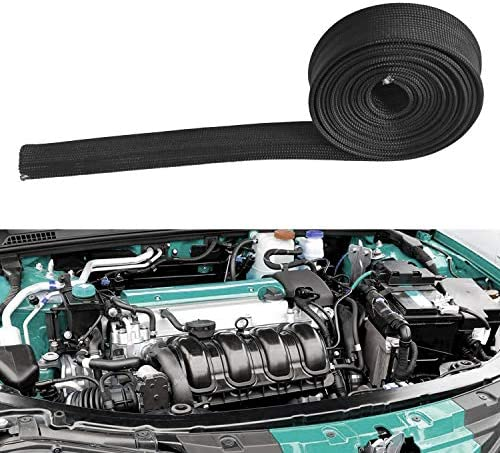 """HEAT HOSE FIBERGLASS WRAP SHIELD SLEEVE WIRE FUEL LINE HEAT SHIELD ROLL HIGH TEMP BLACK COLOUR ADJUSTABLE 10FT-13MM(1/2"""") FOR CAR WIRE LOOM PROTECTION"""