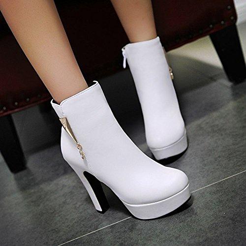 Stivaletti Donna col Tacco Scarpe Elegante Bianco Alto MissSaSa BwqUSF