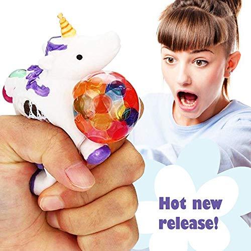 Squishy Unicorn Anti Stress Ball - Squeeze Sensory Stretch Fidget Emoji Toy 4 Girls Kids Toddlers - Mesh DNA Grape Ball 4 Brain Stimulation Concentration Relief ADHD Autism Theme Party Gag - Purple