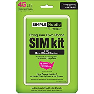 Simple Mobile Sim Activation Kit Prepaid Carrier Locked - Green