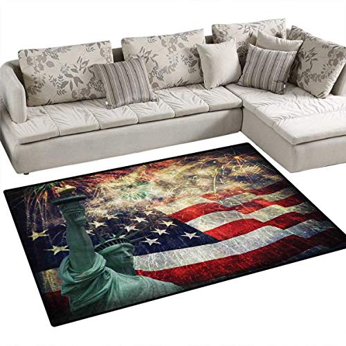 American Flag Area Rugs for Bedroom Composite Photo of States Idols with Fireworks on Background 4th of July Door Mats for Inside Non Slip Backing 3'x5' Multicolor
