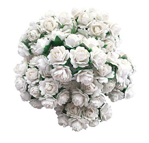 RATREE SHOP 100 pcs Mini Heart Petals Rose White Color Mulberry Paper Flowers 10 mm Scrapbooking Wedding Doll House Supplies Card Mini Paper Flowers