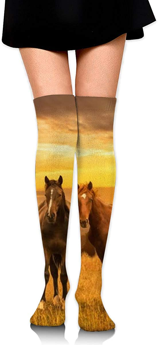 Women Crew Socks Thigh High Knee Sunrise Horse Long Tube Dress Legging Soccer Compression Stocking