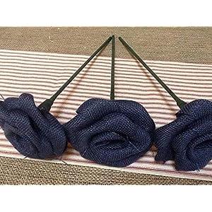 Set of Three Navy Blue Burlap Stemmed Roses Stem Flower for Patriotic Bouquet Decor Rustic Wedding Venue 3