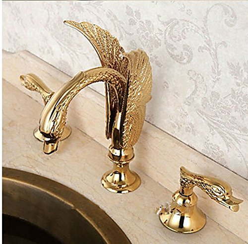 GOWE Golden Polished Bathroom Basin Sink Faucet Luxury Flying Swan Shape Mixer Tap Dual Handles Three Holes Deck Mounted by Gowe