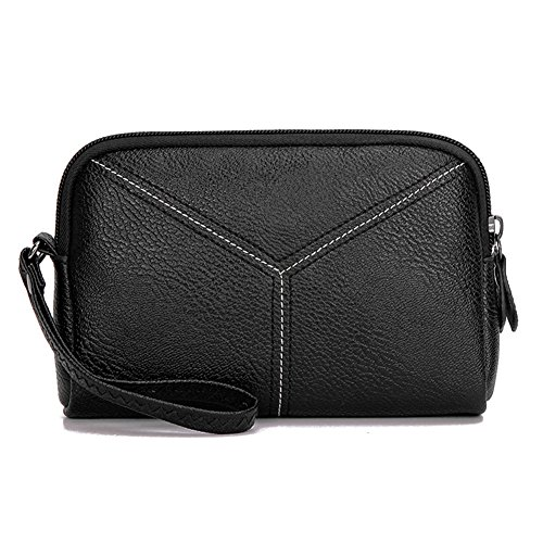 Everpert Fashion Women PU Leather Multifunction Mini Phone Bag Card Coin Clutch Bag Black