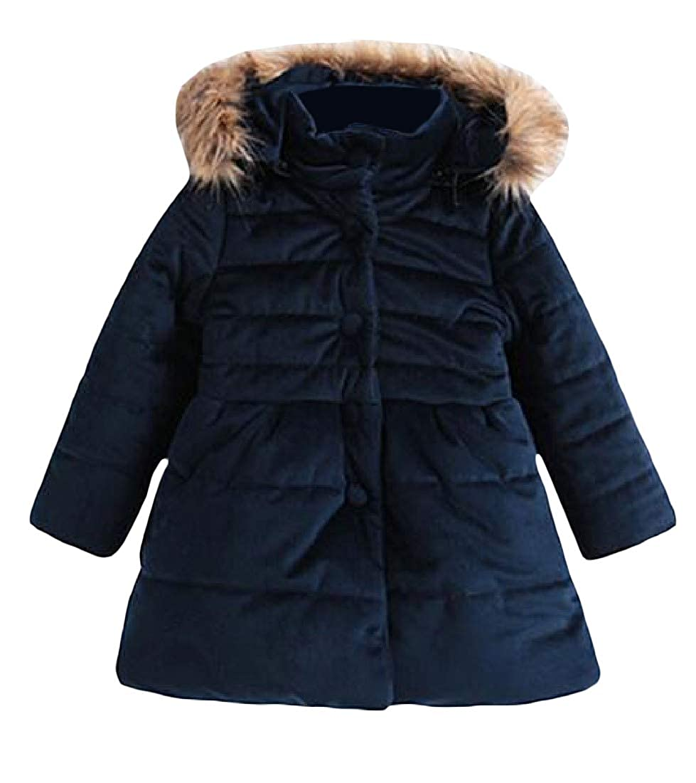 Cromoncent Girls Winter Faux Fur Hood Single Breasted Cotton-Padded Bow Parkas Coats Jacket