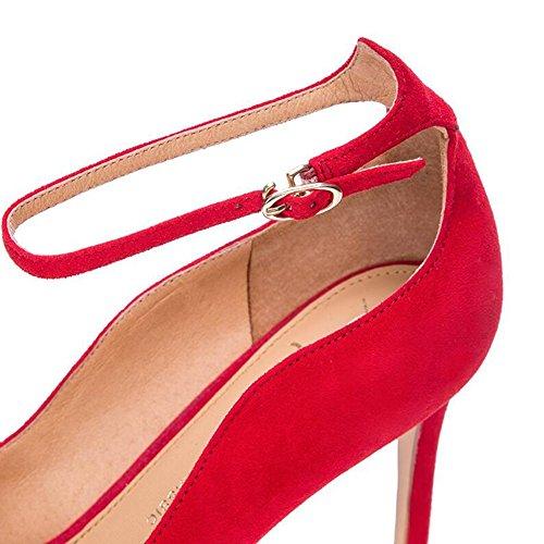 UK3 mit High Damenschuhe Wortbande Größe 5 Eine WYYY cm 7 Flacher Heels Gut Freizeitschuhe Rot Mund Spitze EU36 WqafYdgcw