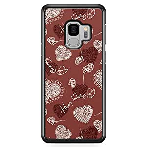 Samsung S9 Transparent Edge Case Valentines Day Couples Love Heart Pattern Cute Design Low Profile Scratch Resistant Samsung S9 Transparent Edge Cover