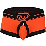 TiaoBug Mens Mesh Shorts Underwear Boxer Briefs Orange L