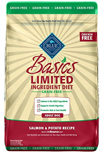 Blue Buffalo Basics Limited Ingredient Diet, Grain Free Natural Adult Dry Dog Food, Salmon & Potato 11-lb ()