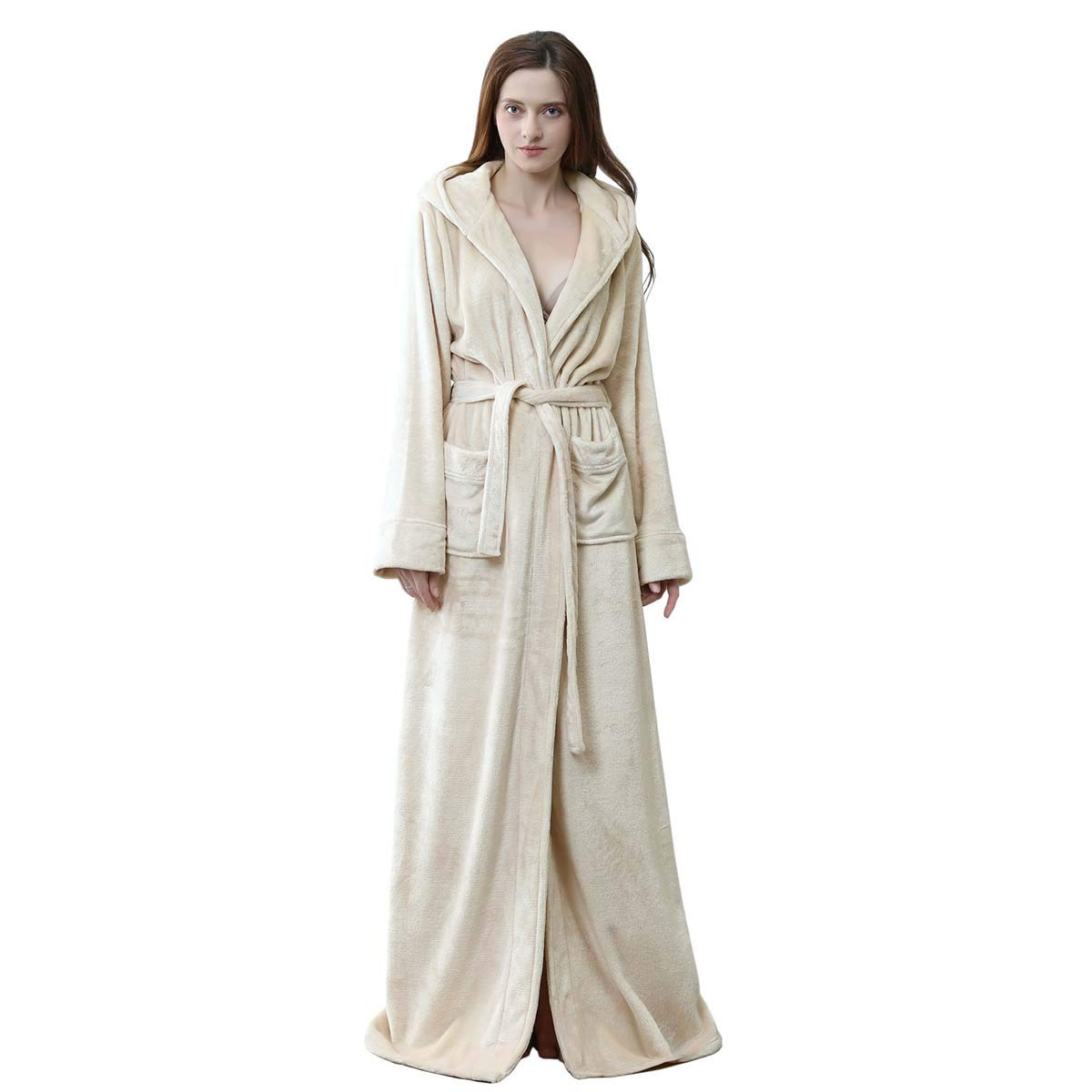 Amazon.com  Long Hooded Robe for Women Luxurious Flannel Fleece Full Length Bathrobe  Winter Warm Pajamas Shower Nightgown  Clothing 9f2d660d2