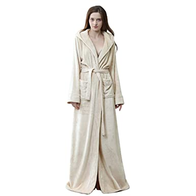 efcc492925 Long Hooded Robe for Women Luxurious Flannel Fleece Full Length Bathrobe  Winter Warm Pajamas Shower Nightgown