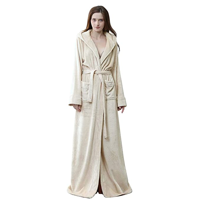 Long Hooded Robe for Women Luxurious Flannel Fleece Full Length Bathrobe  Winter Warm Pajamas Shower Nightgown 1f41e2f82