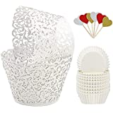 BAKHUK 100Pcs White Vine Lace Hollow Cupcake Wrappers Cupcake Liners and 200Pcs White Baking Cups for Wedding, Birthday, Party etc. …