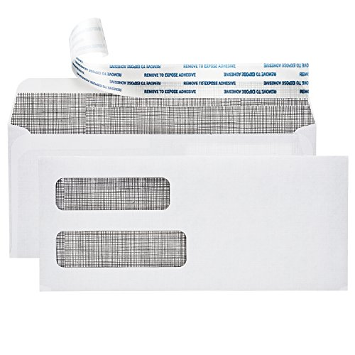 Envelopes No 10 Self Sealing (#10 Self Sealing Security Envelopes :: Double Window, Easy Peel & Seal, White with Dark Privacy Tint :: Perfect for Business Statements, Quickbooks Invoices, and Return Envelopes - 4 1/8 X 9 ½'')