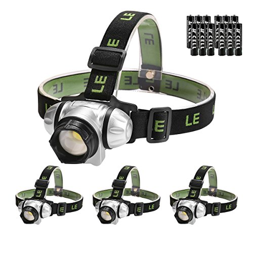 LE LED Headlamp, 4 Lighting Modes Headlight, Battery Powered Helmet Light, AAA Batteries Included for Camping Running Hiking Reading and more, Pack of 4