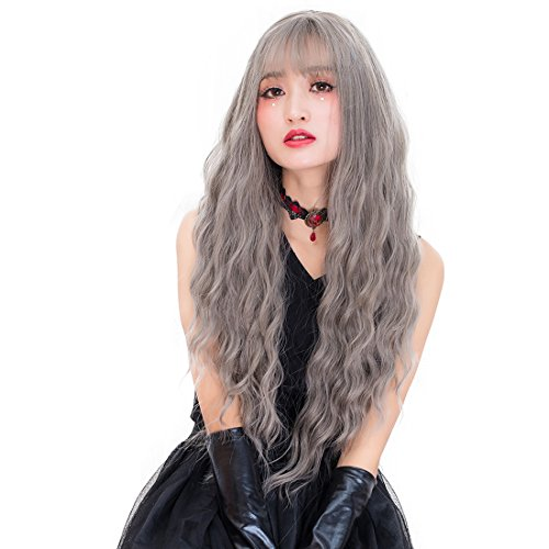 Cruella Deville Costume Makeup (Probeauty Djinni Collection Women Girls Airy Bangs Long Curly Synthetic Party Wig Gothic Costume Hair+Wig Cap (Mix Grey))