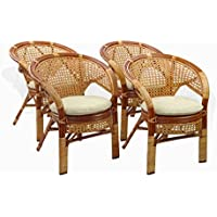 Set of 4 Pelangi Dining Armchairs Handmade Rattan Wicker Furniture Colonial (Light Brown)