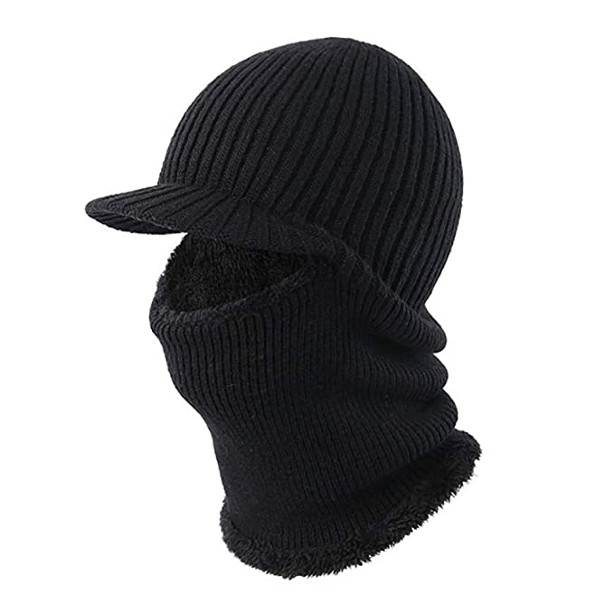 d53961e843e Winter Hat Beanie Cap Balaclava Face Mask Men s Women s Knit Wool Warm Neck  Scarf Set Windproof