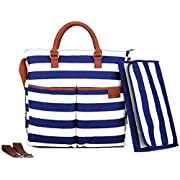 Diaper Bag by Hip Cub - Plus Matching Baby Changing Pad - Navy and White Stripe Designer Cotton Canvas W/Cute Tan Trim (Navy)