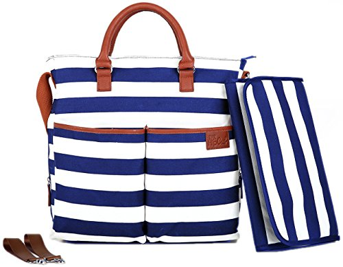 (Diaper Bag by Hip Cub - Plus Matching Baby Changing Pad - Navy and White Stripe Designer Cotton Canvas W/Cute Tan Trim (Navy))