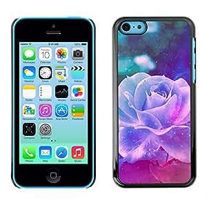 LASTONE PHONE CASE / Carcasa Funda Prima Delgada SLIM Casa Carcasa Funda Case Bandera Cover Armor Shell para Apple Iphone 5C / Cool Violet Rose Vintage Vignette Flower