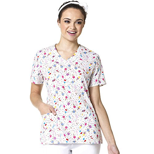 Zoe And Chloe Women's 2 Pocket Mock Wrap Ice Cream Print Scrub Top Medium (Two Pocket Mock Wrap)