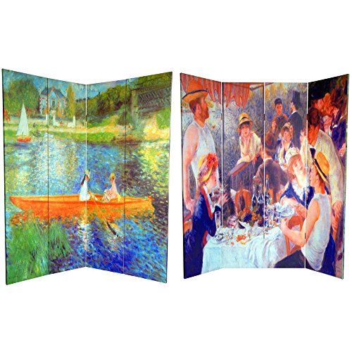 Oriental Furniture 6 ft. Tall Double Sided Works of Renoir Room Divider - The Seine/The (Art Nouveau Dining Room)