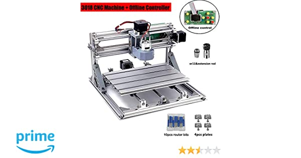 DIY CNC Router Kits, 3018 GRBL 3 Axis Control Wood Carving Milling  Engraving Machine with Offline Controller + ER11& 5mm Extension Rod + 10PCS  CNC