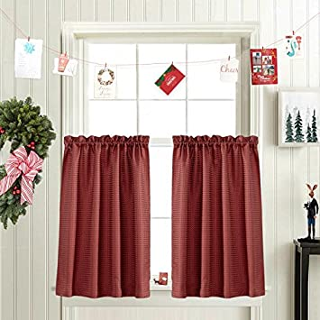 High Quality 45 Inch Long Curtains For Kitchen / Bathroom Window Curtain Set Burgundy  Waffle Weave Curtains
