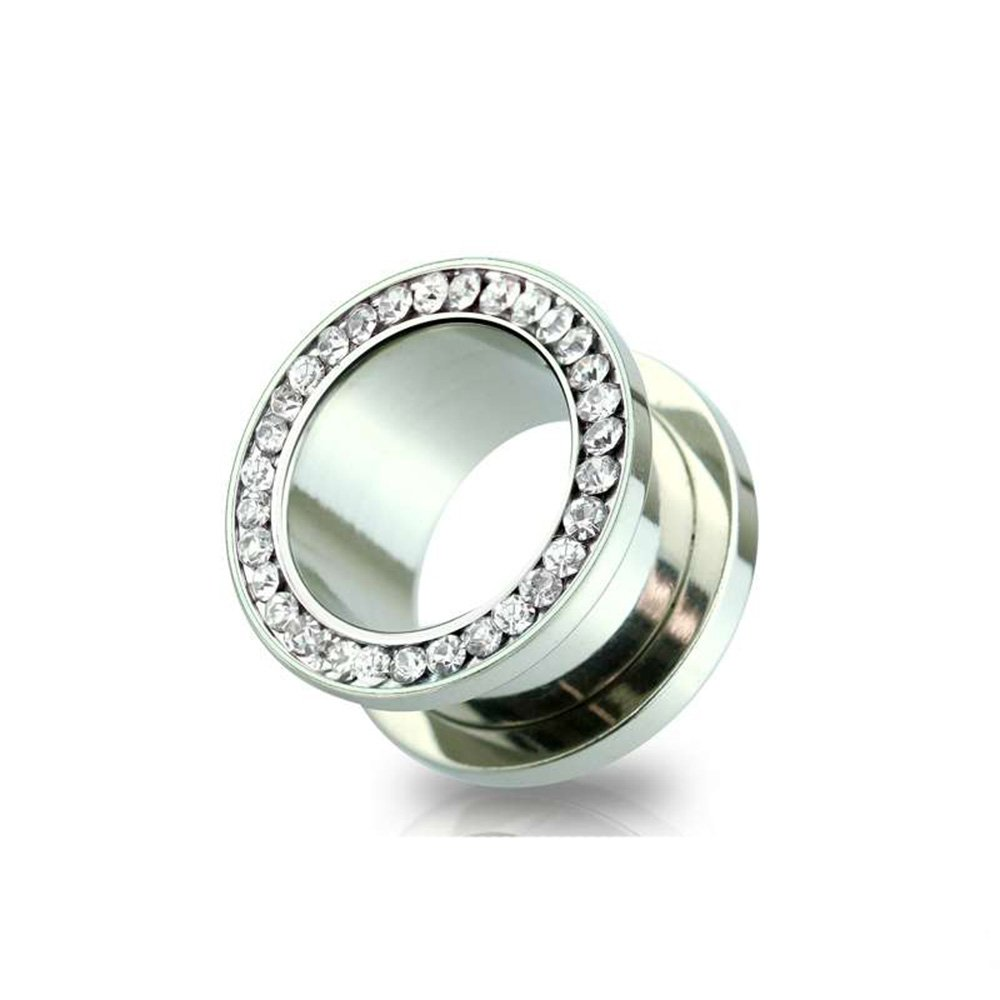 Dynamique Pair Of Multi Clear CZ Paved 316L Surgical Steel Screw Fit Tunnels