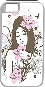 iPhone 5 5S Cases Customized Gifts Cover Beautiful brunette, nude woman - standing amidst lilac flowers Design