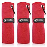 Handy Picks Microfiber Golf Towel (16' X 16') with Carabiner Clip, Hook and Loop Fastener - The Convenient Golf Cleaning Towel Pack (Red, Pack of 3)