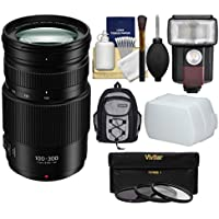 Panasonic Lumix G Vario 100-300mm f/4.0-5.6 II Power OIS Zoom Lens with Flash + Diffuser + 3 Filters + Backpack + Kit