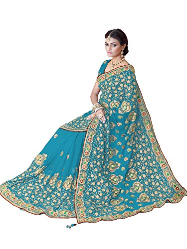 (Sourbh Saree for Women Party Wear Designer Indian Costume (9871_Turquoise Blue))