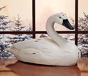 Elegant Sitting Swan Stone Indoor/Outdoor Garden Statue
