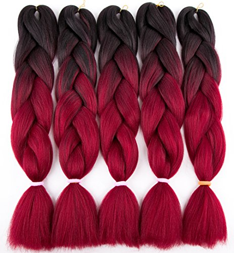 Twist Red Wine - 5Pcs/Lot Ombre Braiding Hair Extensions 24