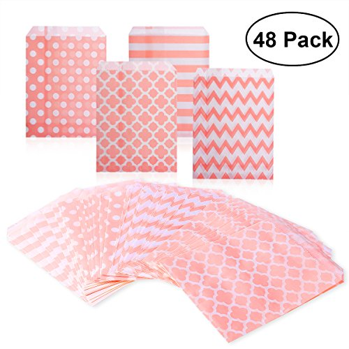 NUOLUX 48pcs Striped Polka Dot Candy Paper Gift Bags for Party (Pink) -