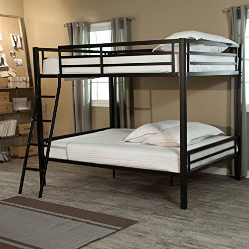 Durable metal in bold black finish Includes ladder rails Weight capacity 320 lbs top 400 lb bottom bunk Mattress for top bunk shouldn't exceed 7 in d 78.75L x 56.75W x 65H in full-over-full bunk bed
