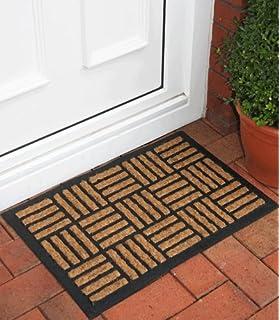 New Natural Coir Rectangle Pattern Thin Doormat 40x60cm